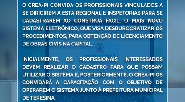 Crea-PI convida os profissionais a se cadastrarem no Construa Fácil