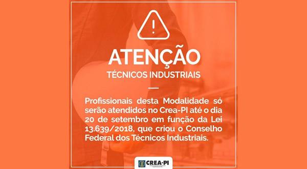 CREA-PI informa que Técnicos Industriais deixam de integrar o Sistema Confea/Crea em 21 de setembro