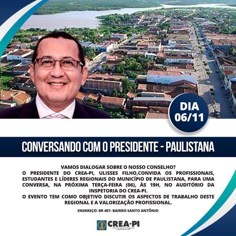 """Crea-PI promove o evento """"Conversando com o Presidente"""", amanhã (06), em Paulistana."""