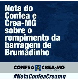 Nota do Sistema Confea/Crea sobre o rompimento da barragem de Brumadinho em MG