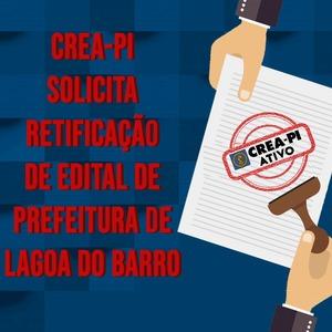 CREA-PI solicita correção de edital de concurso público de Prefeitura de Lagoa do Barro