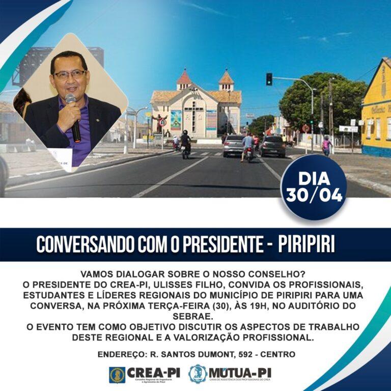 """Crea-PI promove o """"Conversando com o Presidente"""", nesta terça-feira, em Piripiri"""