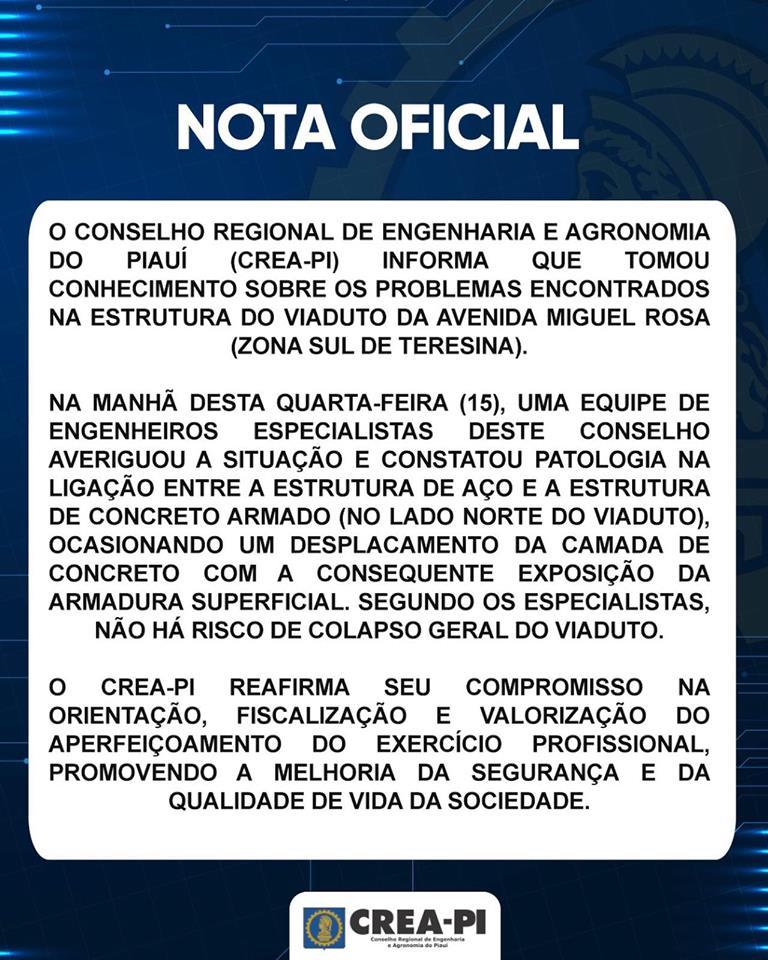 Nota Oficial sobre os problemas do viaduto da Avenida Miguel Rosa