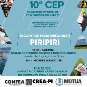 Piripiri recebe, na próxima terça-feira (18), o Encontro Microrregional do 10º CEP