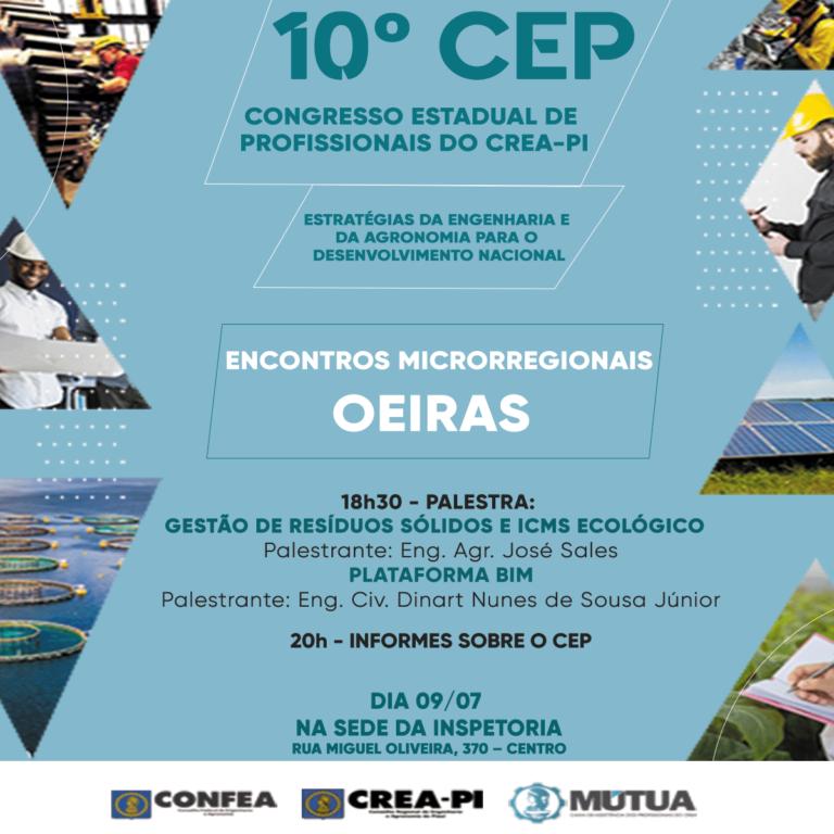 Oeiras é o próximo município a receber o Encontro Microrregional do 10º CEP