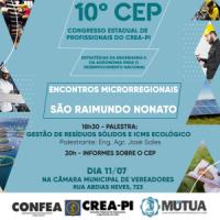 Crea-PI promove Encontro Microrregional do 10º CEP, nesta quinta-feira (11), em São Raimundo Nonato