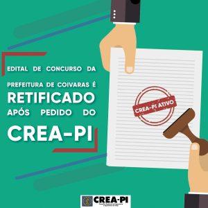Mais um Edital é retificado após pedido do Crea-PI