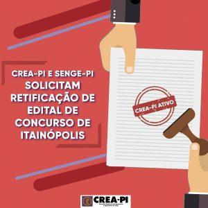 Crea-PI e Senge-PI solicitam retificação de edital de concurso de Itainópolis