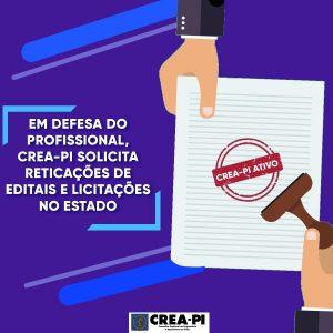 Em defesa do profissional, Crea-PI solicita retificações de Editais e Licitações no estado