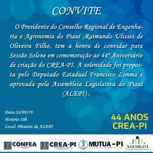 Sessão Solene na Assembleia Legislativa vai homenagear os 44 anos do CREA-PI
