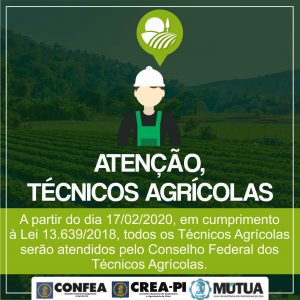 A partir de 17 de fevereiro, os Técnicos Agrícolas deixam Sistema Confea/Crea