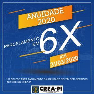 Anuidade 2020: Crea-PI oferece parcelamento no pagamento