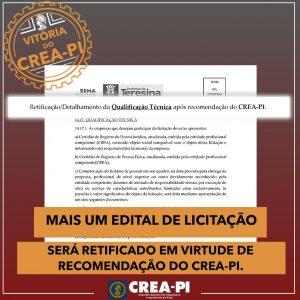 Mais um Edital de Licitação será retificado em virtude de recomendação do Crea-PI.