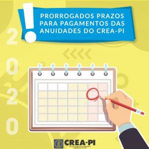 Prorrogados prazos para pagamentos das anuidades do Crea-PI