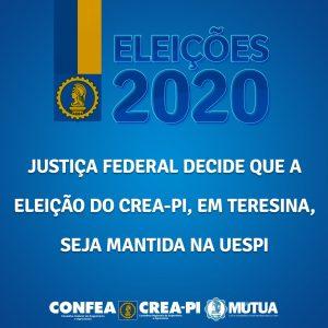 Justiça Federal decide que a eleição do Crea-PI, em Teresina, seja mantida na Uespi