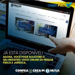 Crea-PI disponibiliza o Registro e o Visto Online de Pessoa Física e Jurídica
