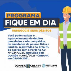 Crea-PI lança programa de reparcelamento de débitos de anuidades de pessoa física e jurídica