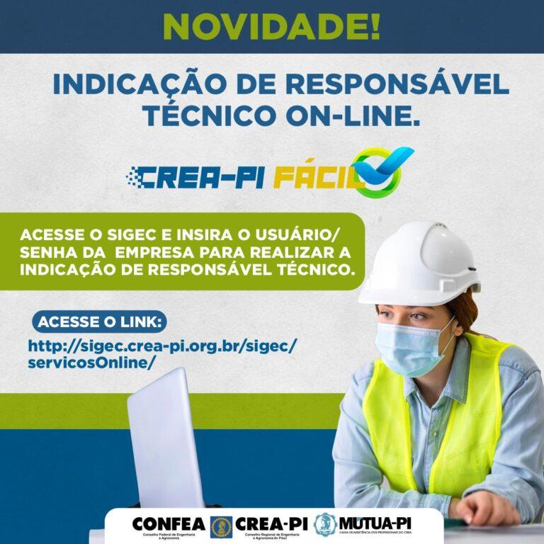 Indicação de Responsável Técnico On-line é o novo lançamento do Crea-PI Fácil