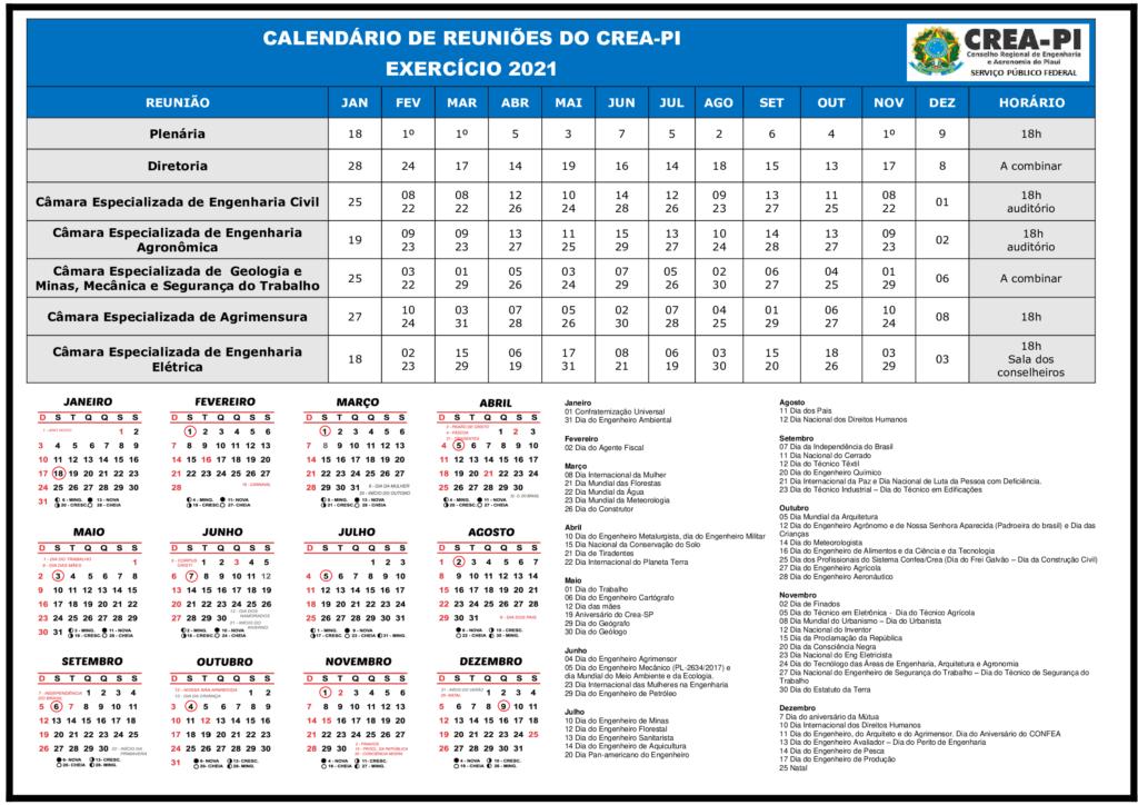 As reuniões obedecem a um calendário fixado, anualmente, com registro de uma reunião mensal da Plenária e duas das Câmaras, salvo os meses de janeiro e dezembro. Em caso de necessidade são convocadas Reuniões Extraordinárias. Calendário de Reuniões do Crea-PI- Exercício 2021