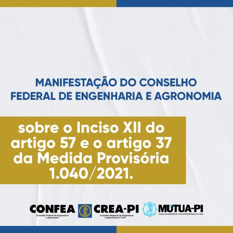 Manifestação do Confea sobre o Inciso XII do artigo 57 e o artigo 37 da Medida Provisória 1.040/2021.