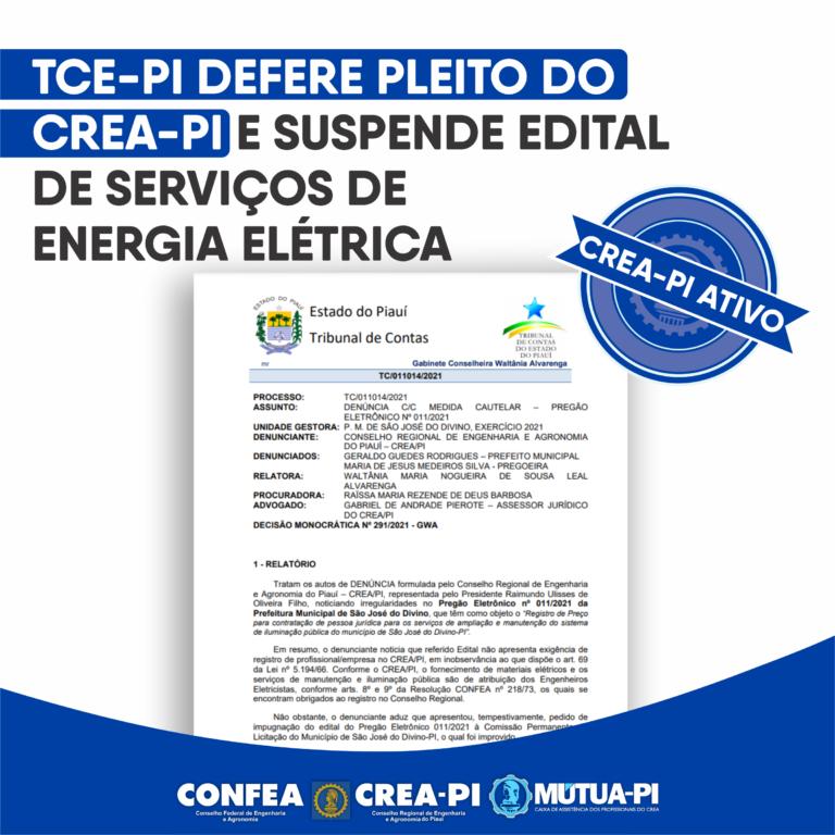 TCE-PI defere pleito do Crea-PI e suspende edital de serviços de energia elétrica