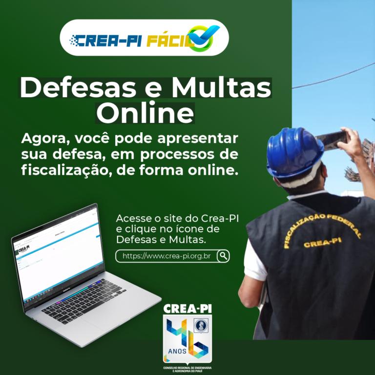 Defesas e Multas Online é o novo lançamento do Crea-PI Fácil